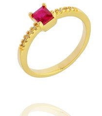 anel dona diva semi joias solitário quadrado rubi