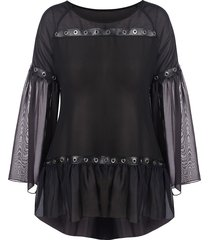 plus size bell sleeve sheer mesh flounce blouse