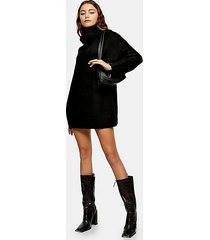 black oversized roll neck knitted sweater dress - black