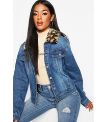 leopard faux fur collar cropped jean jacket, mid blue