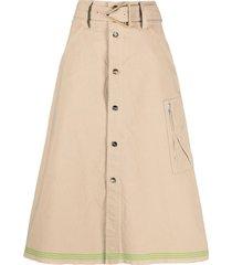bottega veneta belted a-line skirt - brown