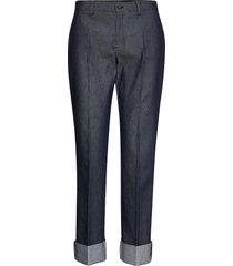 3395 - dori a turnup pantalon met rechte pijpen blauw sand
