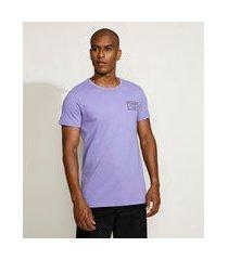 "camiseta masculina slim pass>>future"" manga curta gola careca lilás"""