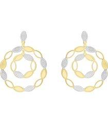 orecchini pendenti in bronzo dorato forma cerchi per donna
