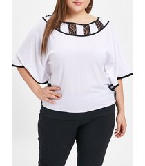 plus size batwing sleeve lace panel t-shirt