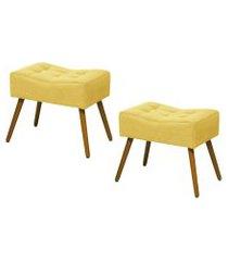 kit 02 puffs banqueta retangular suede liso amarelo - ds móveis