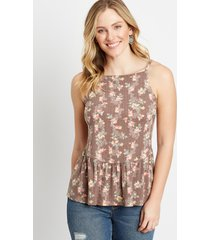maurices womens brown floral babydoll tank top