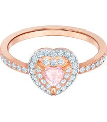 anillo one, multicolor, baño en tono oro rosa