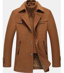 uomo cappotto invernale in lana pesante calda di stile business casual con doppio collo in colore a tinta unita