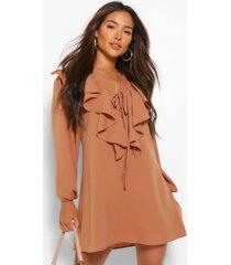 gesmokte jurk met lange mouwen, strik en ruches, geelbruin