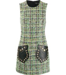 versace medusa tweed sleeveless mini dress - green