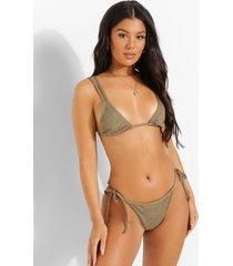 mix & match gekreukeld bikini broekje met zijstrikjes, light khaki