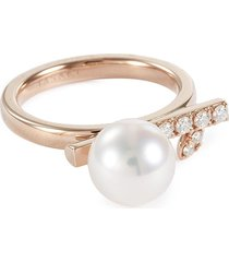 'kugel' diamond akoya pearl 18k rose gold ring