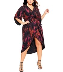 city chic trendy plus size garnet slither dress