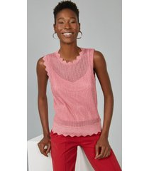 regata amaro de tricot com lurex deatlhe bordas rosa queimado - rosa - feminino - dafiti
