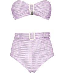 lisa marie fernandez buckle-detailed bandeau bikini - purple