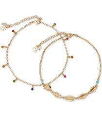 lucky brand gold-tone 2-pc. set muticolor crystal ankle bracelets
