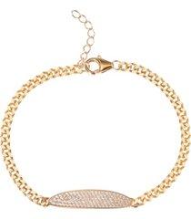 pave oval cubic zirconia bar bracelet in 18k gold over sterling silver