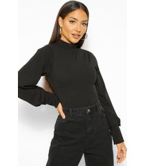 crepe high neck oversized sleeve top, black