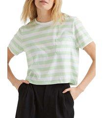 richer poorer women's striped boxy crop tee - neon mint - size l