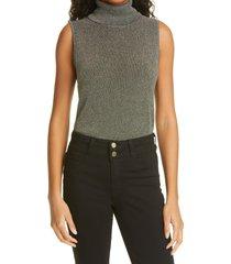 women's l'agence sabrina metallic sleeveless turtleneck sweater, size x-large - green