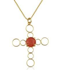 colar toque de joia crucifixo jade vermelha amarelo