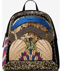 mini-backpack with embroidery and sequins - black - u