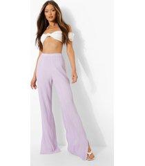 plisse wide leg broek met split, lilac