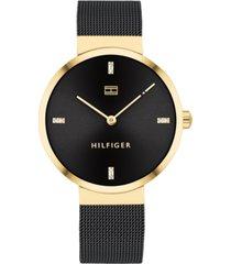 tommy hilfiger women's black stainless steel mesh bracelet watch 35mm