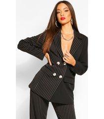 half & half contrast pinstripe oversized blazer, black