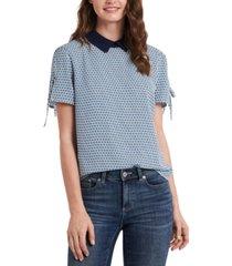cece geo-print collared blouse