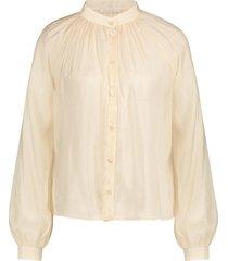 transparante blouse met pofmouwen frederica  naturel