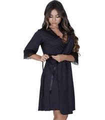 robe estilo sedutor em microfibra e renda com manga preto - vf45 - kanui