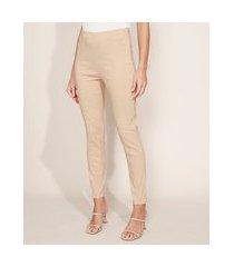 calça legging feminina cintura alta texturizada de poá bege