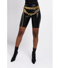 akira chain hang gang faux leather biker shorts