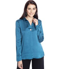 blusa manga larga liso azul petróleo lorenzo di pontti