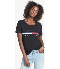 tommy hilfiger women's relaxed fit essential logo flag t-shirt deep black - xxs