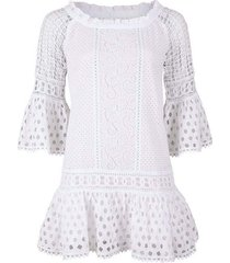 lussemburgo embroidered off the shoulder mini dress