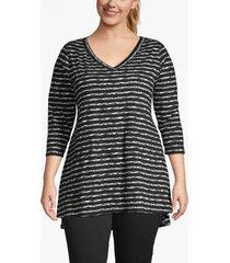 lane bryant women's 3/4-sleeve high-low tunic 14/16 black stripe