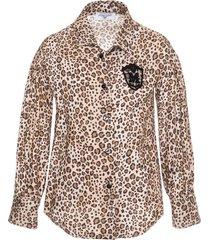 monnalisa logo spotted fashion twill shirt