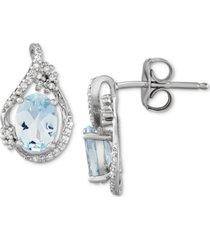 aquamarine (1-1/3 ct. t.w.) & diamond (1/10 ct. t.w.) stud earrings in sterling silver