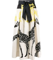 sara roka belted giraffe print skirt - neutrals
