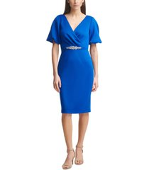 jessica howard petite embellished-waist scuba-crepe sheath dress