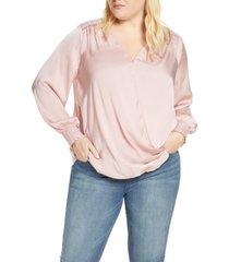plus size women's single thread smocked faux wrap blouse