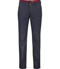 gardeur benny-8 pantalon blauw structuur flatfront