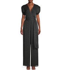 diane von furstenberg women's cassandra printed silk jumpsuit - geo grid black - size s