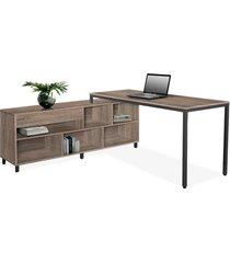 conjunto de mesa de 1,60 c/ armário lateral 1,60 esquerdo terrarun giobel marrom
