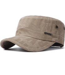 cappello a tesa larga da uomo in tinta unita traspirante regolabile in cotone lavato