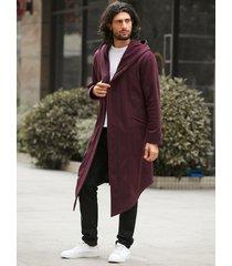 abrigo de dobladillo irregular con capucha largo cálido de invierno para hombre