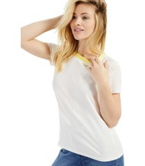 style & co contrast-neck t-shirt, created for macy's